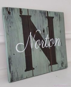10x10 Reclaimed Wood Plaque/Sign with Initial and Last Name