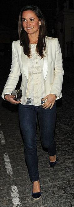 Pippa Middleton: Shirt – Temperley London  Shoes – Russell and Rromley  Purse – Tory Burch  Jeans – Goldsign