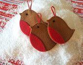Set of 3 Hand Made Robin Felt Christmas Tree Decorations