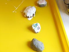 Story rocks.  Collect them, wash them, dry them, find small photos, Mod Podge them.  Then use them for story telling starters. Again, Ms. Stewart has great ideas.