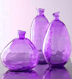 amethyst decor, recycled glass, glasses, blue, colors, hous, bottles, jars, colored glass