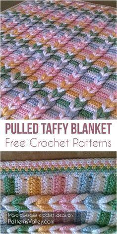 Pulled Taffy Blanket: FREE #Crochet Pattern] #crochet #blanket #handmade #crochetlove #freecrochetpatterns #PulledTaffy