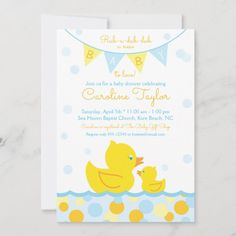 Rubber Ducky Baby Shower Invitation blue & yellow