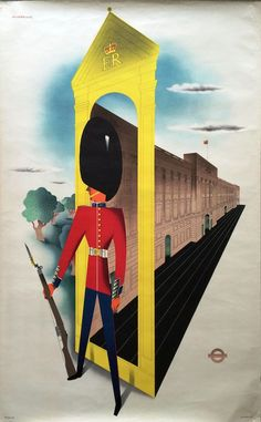 Original 1953 London Transport double-royal POSTER 'Buckingham Palace' by John Bainbridge (1919- 1978) who designed posters for LT from 1953-1957.