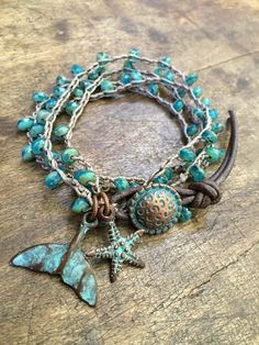 Turquoise Beaded Knotted Wrap Crochet Bracelet, Rustic Starfish – Whale Tail by Two Silver Sisters Türkis Perlen geknotet Wrap Crochet Armband rustikal Beach Jewelry, Boho Jewelry, Jewelry Crafts, Jewelery, Jewelry Accessories, Handmade Jewelry, Jewelry Design, Handmade Items, Bracelet Love