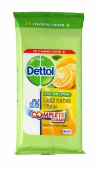 Dettol Anti-Bacterial Multi Action Wipes 20 Pack Citrus Zest Dettol Complete Clean Multi Action Wipes clean the dirt you can see and the germs you can't. The triple action formula provides 3x cleaning power, for a complete clean every time Penetrates and loosens kitchen grease, burnt on food and bathroom dirt.
