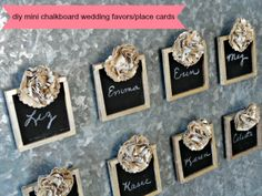 Serendipity Vintage Studio: DIY Mini Chalkboard Wedding Favors - or for any celebration as place markers if decorated diffetently. Wedding Favours Magnets, Wedding Favor Tags, Unique Wedding Favors, Unique Weddings, Diy Wedding, Party Favors, Dream Wedding, Wedding Ideas, Wedding Decoration