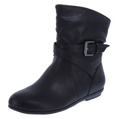 The perfect addition to your cool weather wardrobe, the Meadows Ankle Boot features a tumbled upper with strap and buckle accent, round toe, pull-on design, soft tricot lining, padded insole, and a rubber outsole. Manmade materials.