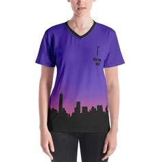 New York Acro Night City Skyline Women's V-neck T-shirt Women's Shirts, Acro, Night City, Stretch Fabric, V Neck T Shirt, Cities, Fitness Models, New York, Skyline
