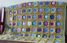 Sublime Forget Me Not Crochet Blanket Green Granny Squares