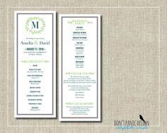 Monogram Wedding Program  Nature Inspired Vine by DontPanicDesign