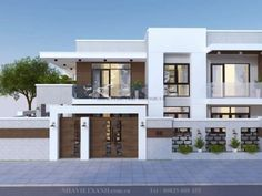 Garden Villa Design 2 Storey Modern House - House And Decors Two Story House Design, Small House Design, Modern House Design, Home Design, Three Story House, 6 Bedroom House Plans, Porch House Plans, Basement House Plans, Garage House