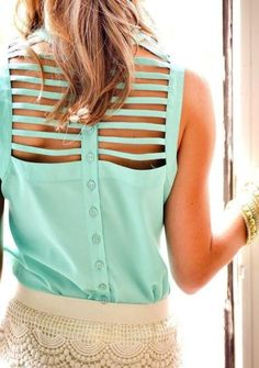 Mint lattice back top.