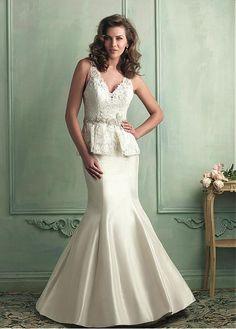 ELEGANT LACE SATIN V-NECK NECKLINE TRUMPET WEDDING DRESS WITH BEADINGS SEXY LADY LACE FORMAL PROM BRIDESSMAID