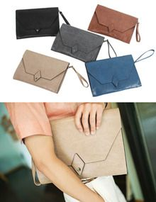 Today's Hot Pick :Leather Envelope Clutch Bag http://fashionstylep.com/SFSELFAA0009527/top3666en1/out Stand out in the crowd with this key trend envelope clutch bag. Handy and spacious designed with a finesse textured leather exterior. Accentuate your casual get-up with this functional and modish accessory. - Rectangular clutch bag - Detachable strap handle - Envelope snap on flap - Internal zip pocket - D rings at the sides - Adjustable/detachable shoulder strap - Colors: Brown, Blue, ...