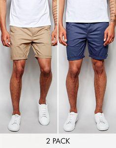 Image 1 ofASOS 2 Pack Slim Chino Shorts In Mid Length SAVE 17%