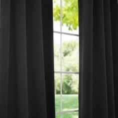 @Overstock - The fabric on these window panels are made of a special polyester yarn that provides effective light blackout and superior insulation. Each curtain panel also highlights an eight-grommet construction.http://www.overstock.com/Home-Garden/Jet-Black-Thermal-Blackout-96-inch-Curtain-Panel-Pair/6337615/product.html?CID=214117 $77.99
