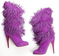 Women's Fashion High Heels : Christian Louboutin. Purple Love, Purple Shoes, All Things Purple, Purple Rain, Shades Of Purple, Purple Suede, 50 Shades, Christian Louboutin Shoes Sale, Bootie Boots