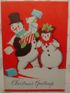 Snowman-Drops-Gifts-40s-Vintage-Christmas-Greeting-Card