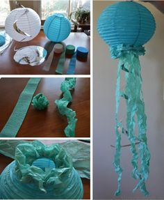 paper lantern jellyfish for an under the sea themed baby shower