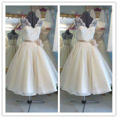 Short lace vintage ea length bridal gown #H044