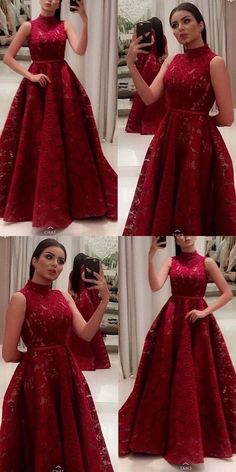 Prom Dresses Ball Gown, Gorgeous Elegant A-Line High Neck Sleeveless Floor-Length Dark Red Lace Prom dress, from the ever-popular high-low prom dresses, to fun and flirty short prom dresses and elegant long prom gowns. Long Prom Gowns, Prom Party Dresses, Ball Dresses, Short Prom, Long Dresses, Dress Long, A Line Evening Dress, Evening Dresses, Red Lace Prom Dress