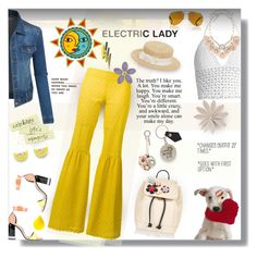 """""""Electric Lady ⚡️🌞🌜💋"""" by selmendonca ❤ liked on Polyvore featuring RED Valentino, Pierre Hardy, Sebastian Professional, Yves Saint Laurent, Anya Hindmarch, Vivienne Westwood, Kreisi Couture, Accessorize, LE3NO and Daizy Shely"""