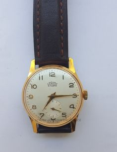 Hodinky Prim 15 Rubínů. - Starožitnosti Antik Praha Mikšík Praha, 7 And 7, Watches, Retro, Leather, Accessories, Clocks, Clock, Retro Illustration