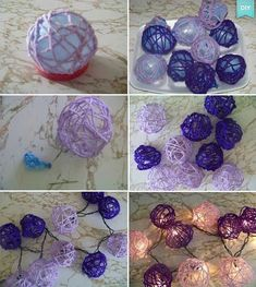 guirlande en boule de laine trempée dans de la colle et réalisée à partir de ballons