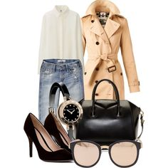 A fashion look from February 2015 featuring Uniqlo blouses, Burberry coats and Hollister Co. jeans. Browse and shop related looks.