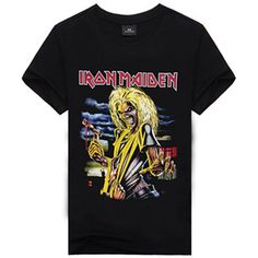 Iron Maiden Shirt - Rebel Style Shop - Scream your love for Iron Maiden with this cool and comfortable shirt. Wear it with jeans and a stylish pair of shoes, and look concert-ready wherever you are. Vintage Rock T Shirts, Metal Shirts, 3d T Shirts, Casual T Shirts, Branded T Shirts, Casual Outfits, Iron Maiden Shirt, Rebel Fashion, Fashion 2017