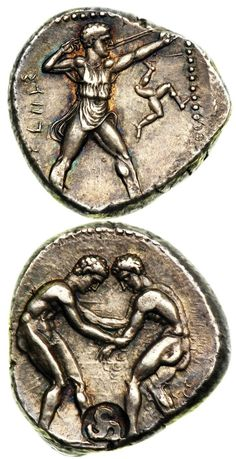 Silver Stater with an interesting countermark, minted in Selge, Pisidia, Circa 350 BC On the obverse, two athletes wrestle, grasping each other's arms with a circular countermark in the shape of a...