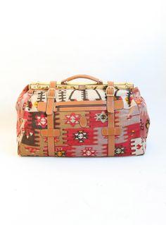 Vintage Kilim Travel Bag with Metal Frame | Salvage Life