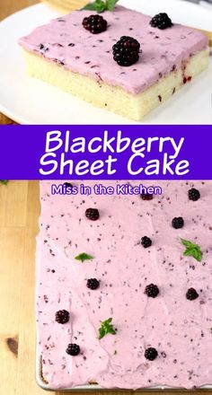 This Blackberry Sheet Cake recipe is an easy dessert to make for any day of the week and delicious enough for special occasions. A tender and moist vanilla sheet cake topped with fresh blackberry cream cheese icing. Sheet Cake Recipes, Homemade Cake Recipes, Best Dessert Recipes, Sweet Recipes, Delicious Desserts, Easy Recipes, Vanilla Sheet Cakes, Cakes Plus, Easy To Make Desserts