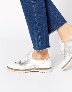 ALDO Mearian Silver Flat Brogue Shoes