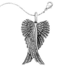 Antiqued Sterling Angel Wings Pendant