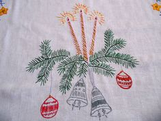 Big Christmas Vintage tablecloth embroidery hand by Retroom