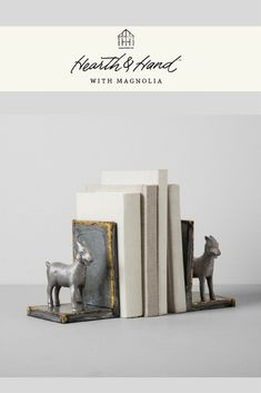 Give your bookshelf an instant style update with these Galvanized Goat Bookends from Hearth & Hand™ with Magnolia. #ad #gift #goat #home #decor #style #art #books #reading #fixerupper