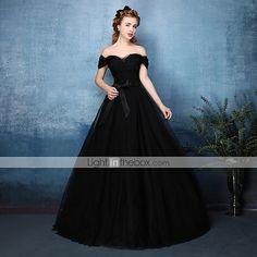 3e126e640   149.99  Linha A Ombro a Ombro Longo Tule Baile de Formatura   Evento Formal  Vestido com Faixa   Fita   Drapeado Lateral de TS Couture®