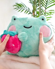 Ebbo Strawberry Plush is here! Extra round and huggable. Made with plush minky fabric that's super soft to touch. Cute Frogs, Cute Stuffed Animals, Cute Plush, Frog And Toad, Minky Fabric, Sanrio, Plushies, Really Cool Stuff, Decoration