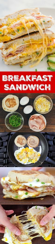 This breakfast sandwich is cheesy, juicy, easy and so delicious! All you need is 5 minutes and 5 ingredients. A one-pan breakfast sandwich recipe with video   natashaskitchen.com