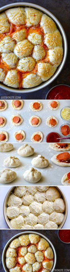 Cheese and Pepperoni Pizza Bites from justataste.com #recipe @justataste