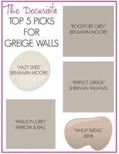 Top 5 Picks for Greige Walls *I also love Benjamin Moore Revere Pewter, and Valspar Opera Glasses! <3