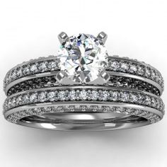 Vintage Round Diamond Pave set Engagement Ring with matching band set in 18k White Gold (1.11 ctw)  In stockSKU: VS1079SET-18W
