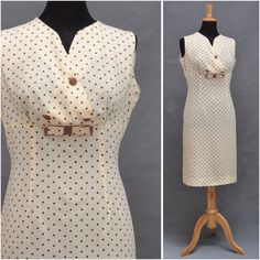Vintage dress, 1950s / 1960s wiggle dress, Pretty cream polka dot,  fitted shift dress, Summer sundress, rockabilly to Mod,Great larger size by VintageGreenClothing on Etsy