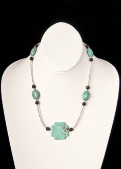 Faux Turquoise Square Cross Accent Necklace by floweravenue, $16.00 Tiger Eye Beads, Color Stories, Turquoise Necklace, Necklaces, Jewelry, Jewlery, Jewels, Jewerly