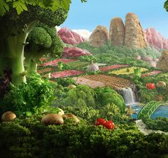 Vegetable Landscape by Lacewing Studio, via Behance