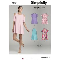 Simplicity Pattern 8383 Misses' Knit Trapeze Dress with Neckline and Sleeve Variations.looks like a cute tunic to me! New Look Patterns, Simplicity Sewing Patterns, Dress Sewing Patterns, Fabric Patterns, Clothing Patterns, Skirt Patterns, Pattern Sewing, Mccalls Patterns, Sewing Clothes