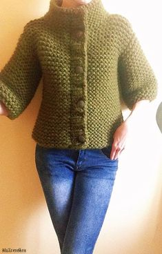Diy Crafts - This Pin was discovered by Kar Cardigan Pattern, Crochet Cardigan, Knit Crochet, Giant Knitting, Easy Knitting, Knit Basket, Hand Knitted Sweaters, Crochet Woman, Knit Fashion