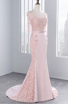 Pink,Middle Sleeves, Lace Prom Dresses, Mermaid Party Evening Dress For Graduation,Floor Length Formal Dress Gold Prom Dresses, Prom Dresses For Sale, Prom Dresses With Sleeves, Mermaid Prom Dresses, Formal Dresses, Wedding Dresses, Mermaid Skirt, Lace Mermaid, Dress Prom